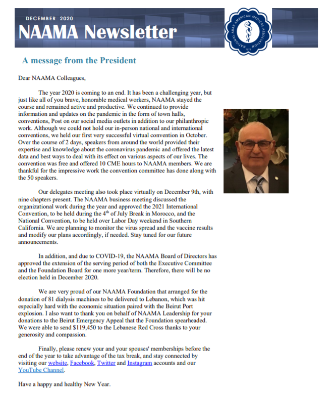 Read more about the article DECEMBER 2020 Newsletter